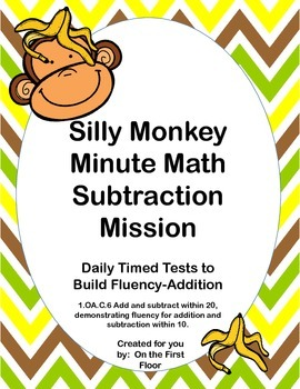Silly Monkey Minute Math Subtraction Mission-Daily Timed T