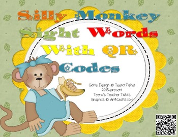Silly Monkey Sight Word Scramble with QR Codes -- Pre-Primer Words