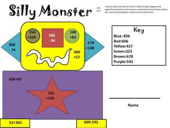 Silly Monster Adding and Subtracting Activity