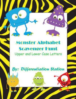 Silly Monster Alphabet Scavenger Hunt: Upper and Lowercase