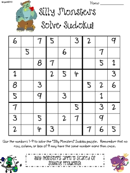Monster Sudoku for Upper Elementary