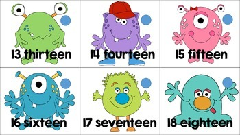Silly Monster Themed Linking Counting Cards