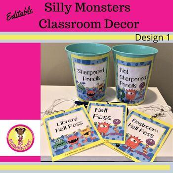 Silly Monsters Classroom Decor Design 1 (Editable)