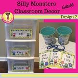 Silly Monsters Classroom Decor Design 2 (Editable)