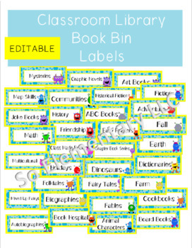 Classroom Library Book Bin Labels Silly Monsters Design 1 (Editable)