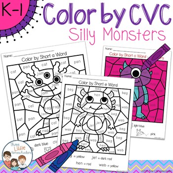 Silly Monsters Color by CVC Word