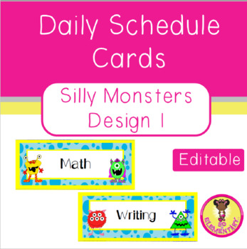 Silly Monsters Daily Schedule Cards Design 1
