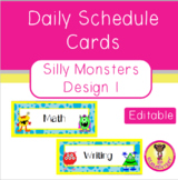 Daily Schedule Cards Silly Monsters Design 1 (Editable)