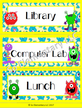 Silly Monsters Daily Schedule Cards Design 2
