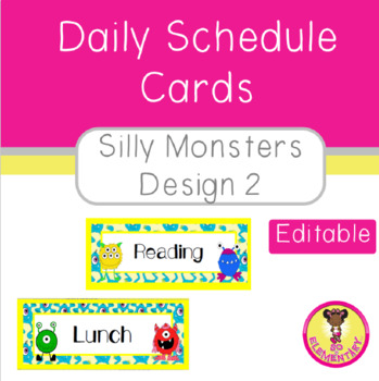 Daily Schedule Cards Silly Monsters Design 2 (Editable)