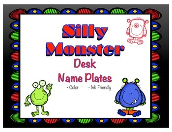 Silly Monsters Desk Name Plates (Name Tags)