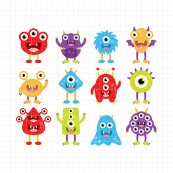 Silly Monsters-Digital Clipart (LES.CL03A)