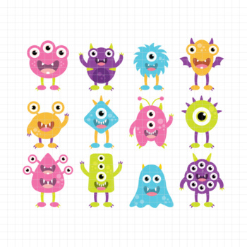 Silly Monsters-Digital Clipart (LES.CL03B)