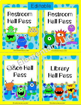 Silly Monsters Hall Passes Design 1