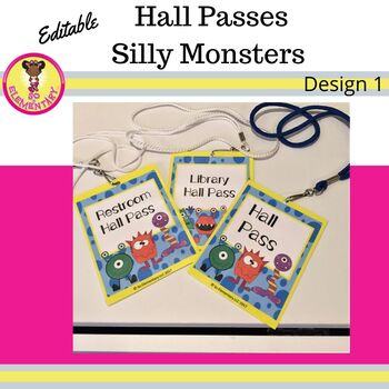 Hall Passes Silly Monsters Design 1 (Editable)