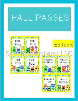Hall Passes Silly Monsters Design 2 (Editable)
