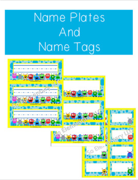 Name Plates and Name Tags Silly Monsters Design 1 (Editable)