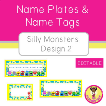 Name Plates and Name Tags Silly Monsters Design 2 (Editable)