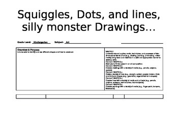 Silly Monsters art lesson for Kindergarten