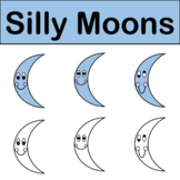 Silly Moons Clip Art Color & Black/White