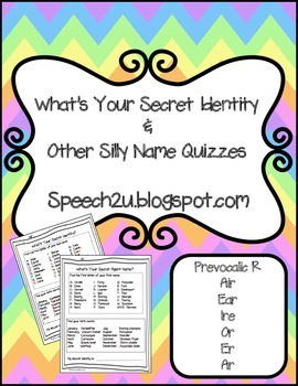 Silly Name Quizzes: Articulation-Prevocalic/Vocalic R R controlled