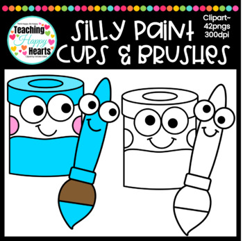 Silly Paint Cups & Brushes Clipart