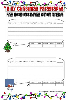 Silly Paragraphs Christmas Theme Get Writing!