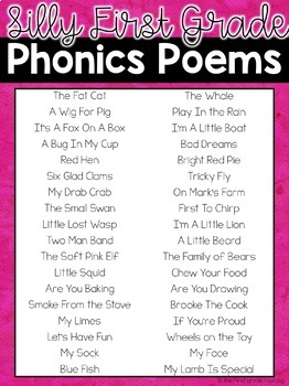 Silly Phonics Poems for First Grade Shared Reading