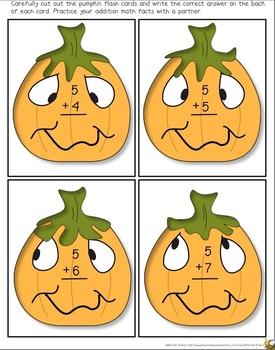 Silly Pumpkin Addition Flashcards