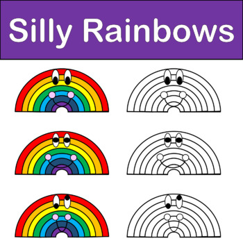 Silly Rainbows Spring Clip Art Color & Black/White