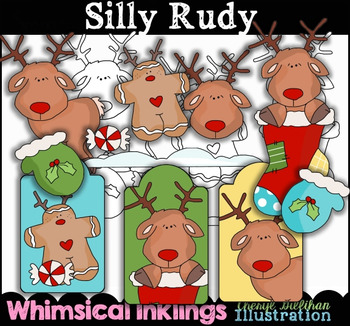 Silly Rudy Christmas Clipart Collection NO LICENSE REQUIRED