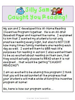 Silly Sam Caught You Reading! At-Home Reading Incentive Program