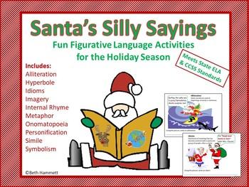 figurative language santa s silly sayings by beth hammett the