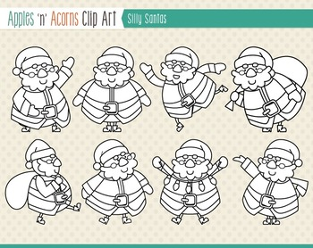 Silly Santas Clip Art - color and outlines