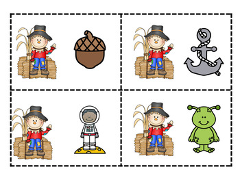 Beginning or Initial Letter Sound Matching Game, Literacy Center Scarecrow Theme