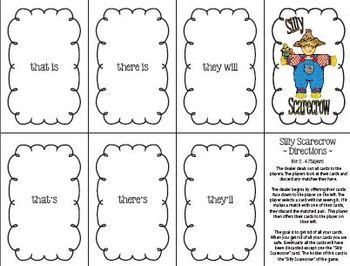 Silly Scarecrow Card Game: Contractions