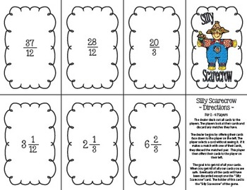 Silly Scarecrow Card Game: Improper Fractions and Mixed Numbers