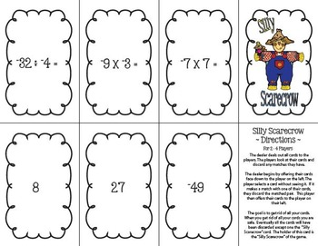 Silly Scarecrow Card Game: Multiply & Divide Integers