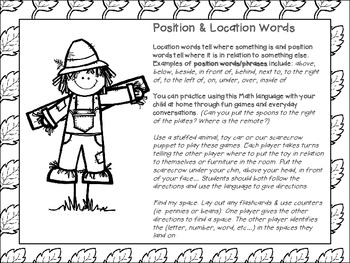 Silly Scarecrow Position Words