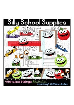 Silly School Supplies Clipart Collection