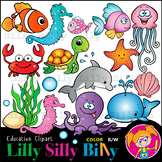 Silly Sea Creatures - B/W & Color clipart, illustration {L