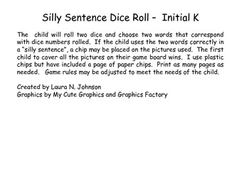 Silly Sentence Dice Roll - Initial /k/ Freebie