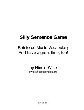 Silly Sentence Game- Instrumental Music Vocabulary