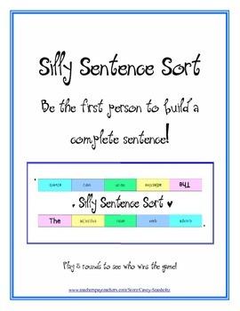 Silly Sentence Sort: Parts of Speech (noun, verb, adjectiv