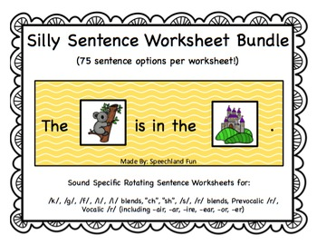 Silly Sentence Worksheet Bundle
