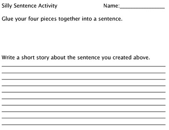 Silly Sentence writing activity
