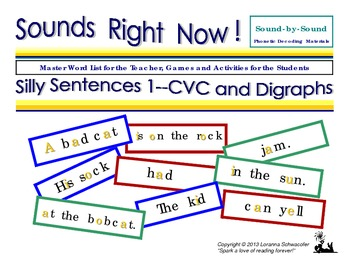 Silly Sentences 1 --CVC and Digraph Phrase Cards