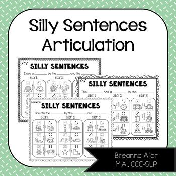 No Prep Silly Sentences Articulation