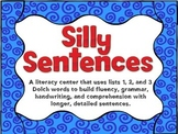 Silly Sentences Center Using Dolch Lists 1, 2, and 3
