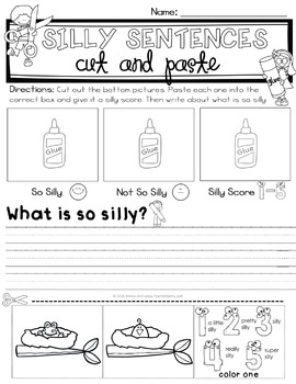 Silly Sentences Cut and Paste Set 1